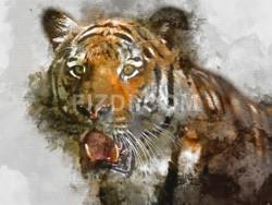 Wild Siberian Tiger (PRT_72) - Canvas Art Print - 28in X 21in