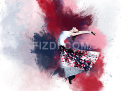 Young Ballerina Dancing (PRT_76) - Canvas Art Print - 29in X 21in