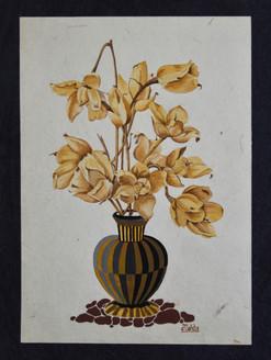 Woodroses in a vase (ART_4223_26387) - Handpainted Art Painting - 16in X 21in