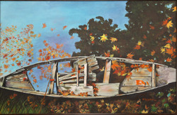 Boat in Lake in Kashmir (ART_4065_26297) - Handpainted Art Painting - 36in X 24in