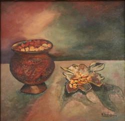 Kashmir dry fruits (ART_4065_26263) - Handpainted Art Painting - 18in X 18in