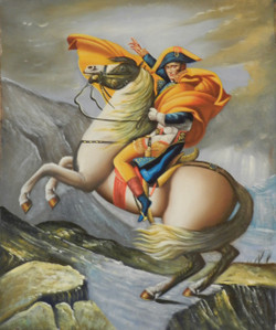 Napoleon - 20in X 24in,Napoleon_2024,Oil Colors,Canvas,Black, Dark Shades,Horses, Horse,Race,50X60 Size,King With Horse,Horse Rider,Race,Figurative Art Canvas Painting Buy canvas art painting online for sale by fizdi.com in India