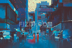 Art Of Love In Crowded City (PRT_109) - Canvas Art Print - 26in X 17in