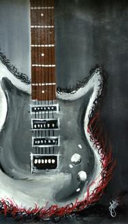 Guitar Painting (ART_2979_26551) - Handpainted Art Painting - 12in X 20in