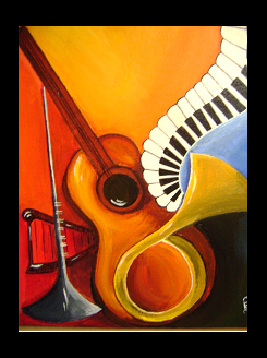 Musical Instruments - 10in X  12in (Border Framed),ART_RIAA13_1012,Acrylic Colors,Guitar,Music,Sound Instruments,Artist RAJNI AYAPILLA ,Museum Quality - 100% Handpainted