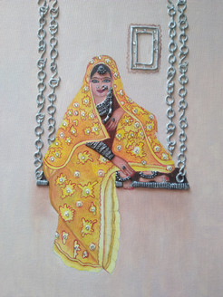 Rajasthani lady on a jhoola (ART_4052_26698) - Handpainted Art Painting - 15in X 19in (Framed)