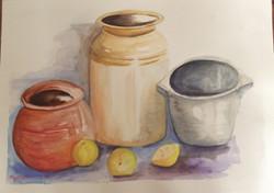 Pickle Jars (ART_4376_26771) - Handpainted Art Painting - 16in X 12in