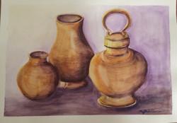Grandmas Crockery (ART_4376_26770) - Handpainted Art Painting - 16in X 12in