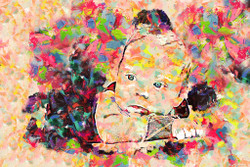 Colourful Portrait Of Adorable Baby (PRT_140) - Canvas Art Print - 29in X 19in