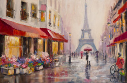 Couple In Love In Paris (PRT_148) - Canvas Art Print - 25in X 17in
