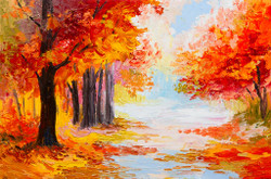 Colourful Autumn Forest (PRT_152) - Canvas Art Print - 25in X 16in