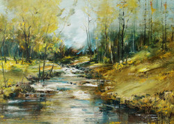 Creek In The Forest (PRT_153) - Canvas Art Print - 29in X 21in