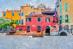 Buildings In Venice (PRT_178) - Canvas Art Print - 23in X 16in