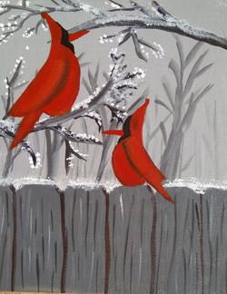 Cherry love birds (ART_4112_25522) - Handpainted Art Painting - 8in X 12in