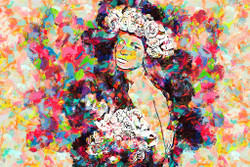 Colourful Woman With Flowers (PRT_195) - Canvas Art Print - 32in X 21in