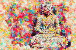 Colourful Buddha (PRT_201) - Canvas Art Print - 32in X 21in