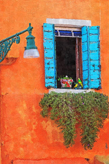 Colourful Wall And Window (PRT_204) - Canvas Art Print - 19in X 29in