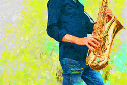 Jazzman With Saxophone (PRT_207) - Canvas Art Print - 31in X 21in