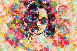 Colourful Lady With Glasses (PRT_209) - Canvas Art Print - 30in X 20in