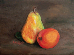 Pear and Apple Still Life (ART_4235_25951) - Handpainted Art Painting - 8in X 6in (Framed)