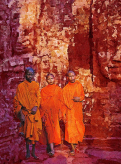 Contemplating Monk In Cambodia (PRT_224) - Canvas Art Print - 20in X 27in