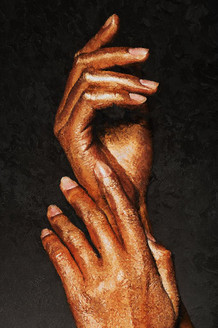 Beautiful Hands In Golden Paint 1 (PRT_228) - Canvas Art Print - 21in X 32in