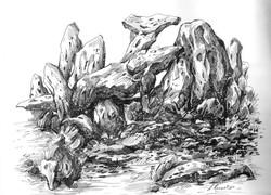 Rockscape 2 - 11in X 08in,ART_AKRR02_1108,Ink Colors,Artist Ashok Revankar,Rockscape paintings - Buy painting online in india