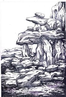 Rockscape 3 - 9in X 12in,ART_AKRR02_0912,Ink Colors,Artist Ashok Revankar,Rockscape paintings - Buy painting online in india