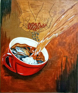Perfect cup of coffee (ART_4249_26938) - Handpainted Art Painting - 10in X 12in (Framed)
