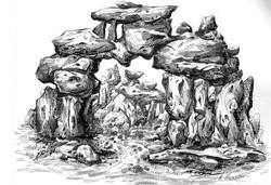 Rockscape 11 - 12in X 09in,ART_AKRR11_1209,Ink Colors,Artist Ashok Revankar,Rockscape paintings,Rocks Paintings,Art of rocks - Buy painting online in india