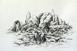 Rockscape 13 - 12in X 07in,Ca,Ink Colors,Artist Ashok Revankar,Rockscape paintings,Rocks Paintings,Art of rocks - Buy painting online in india