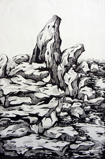 Rockscape 16 - 9in X 012in,ART_AKRR16_0912,Ink Colors,Artist Ashok Revankar,Rockscape paintings,Rocks Paintings,Art of rocks - Buy painting online in india