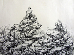 Rockscape 17 - 12in X 09in,ART_AKRR17_1209,Ink Colors,Artist Ashok Revankar,Rockscape paintings,Rocks Paintings,Art of rocks - Buy painting online in india