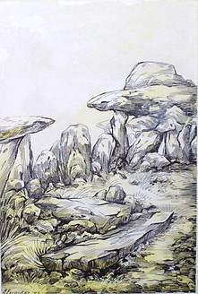 Rockscape 19 - 08in X 11in,ART_AKRR19_0811,Ink Colors,Artist Ashok Revankar,Rockscape paintings,Rocks Paintings,Art of rocks - Buy painting online in india