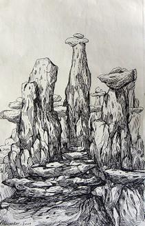 Rockscape 20 - 11in X 15in,ART_AKRR20_1115,Ink Colors,Artist Ashok Revankar,Rockscape Paintings,Rocks Paintings,Art of rocks Painting - Buy painting online in india