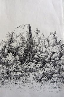 Rockscape 21 - 11in X 15in,ART_AKRR21_1115,Ink Colors,Artist Ashok Revankar,Rockscape Paintings,Rocks Paintings,Art of rocks Painting - Buy painting online in india