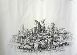 Rockscape 26 - 15in X 11in,ART_AKRR26_1511,Ink Colors,Artist Ashok Revankar,Rockscape Paintings,Rocks Paintings,Art of rocks Painting - Buy painting online in india