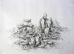 Rockscape 28 - 15in X 11in,ART_AKRR28_1511,Ink Colors,Artist Ashok Revankar,Rockscape Paintings,Rocks Paintings,Art of rocks Painting - Buy painting online in india