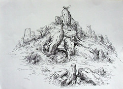 Rockscape 30 - 15in X 11in,ART_AKRR30_1511,Ink Colors,Artist Ashok Revankar,Rockscape Paintings,Rocks Paintings,Art of rocks Painting - Buy painting online in india