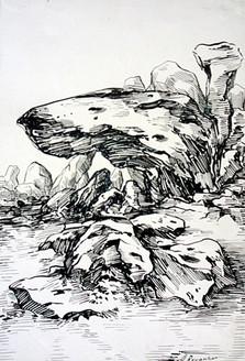 Rockscape 32 - 07in X 11in,ART_AKRR32_0711,Ink Colors,Artist Ashok Revankar,Rockscape Paintings,Rocks Paintings,Art of rocks Painting - Buy painting online in india