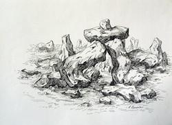 Rockscape 34 - 15in X 11in,ART_AKRR37_1511,Ink Colors,Artist Ashok Revankar,Rockscape Paintings,Rocks Paintings,Art of rocks Painting - Buy painting online in india