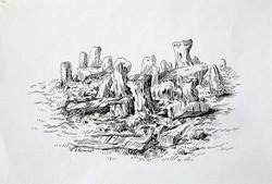 Rockscape 38 - 11in X 09in,ART_AKRR41_1109,Ink Colors,Artist Ashok Revankar,Rockscape Paintings,Rocks Paintings,Art of rocks Painting - Buy painting online in india