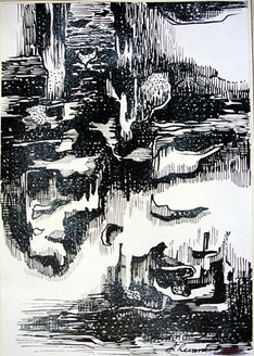 Abstract Series 04 - 08in X 11in,ART_AKRR54_0811,Ink Color,Artist Ashok Revankar,Abstract Art,Abstract Black and White paintings Paintings - Buy painting online in india