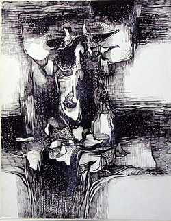 Abstract Series 30 - 07in X 11in,ART_AKRR80_0711,Ink Color,Artist Ashok Revankar,Abstract Art,Abstract Black and White paintings Paintings - Buy painting online in india