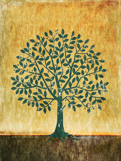 31Kid70 - 20in X 30in,31Kid70_2030,Oil Colors,Tree,Yellow Background,Yellow, Brown,50X75 Size,Modern Art Art Canvas Painting Buy painting online for sale by fizdi.com in India