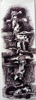 Abstract Series 35 - 07in X 22in,ART_AKRR85_0722,Ink Color,Artist Ashok Revankar,Abstract Art,Abstract Black and White paintings Paintings - Buy painting online in india