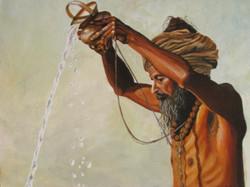 Sadhu - 30in X 24in,ART_AICY07_3024,Acrylic Colors,Rolled Canvas,Artist Aditi Chakraborty,Figurative,Sant,Sadhu,Maharaj,Sandhya Snan,Pooja Archana - Buy Paintings Online in India