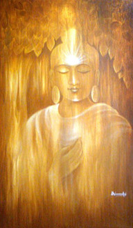 Golden Buddha - 24in X 36in ,ART_VH06_3624,Acrylic Colors,Buddha,Artist Vishwanadh, Museum Quality - 100% Handpainted