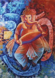 Om Ganesha - 28in X 36in,ART_KJME24_2836,Canvas,Artist- Kirtiraj Mhatre,Museum Quality- 100% Handpainted,Ganesha,Mangal Murti,Bappa,God - Buy painting Online in India