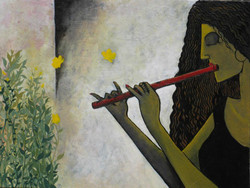 Flute  - 22in X 18in (Canvas Board),ART_PTGU01_2218,Acrylic Colors,Artist Prasenjit Guru ,Woman Playing Flute,Music,- Buy Paintings Online in India